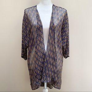 Lularoe Lindsay kimono blue gold wheat chiffon